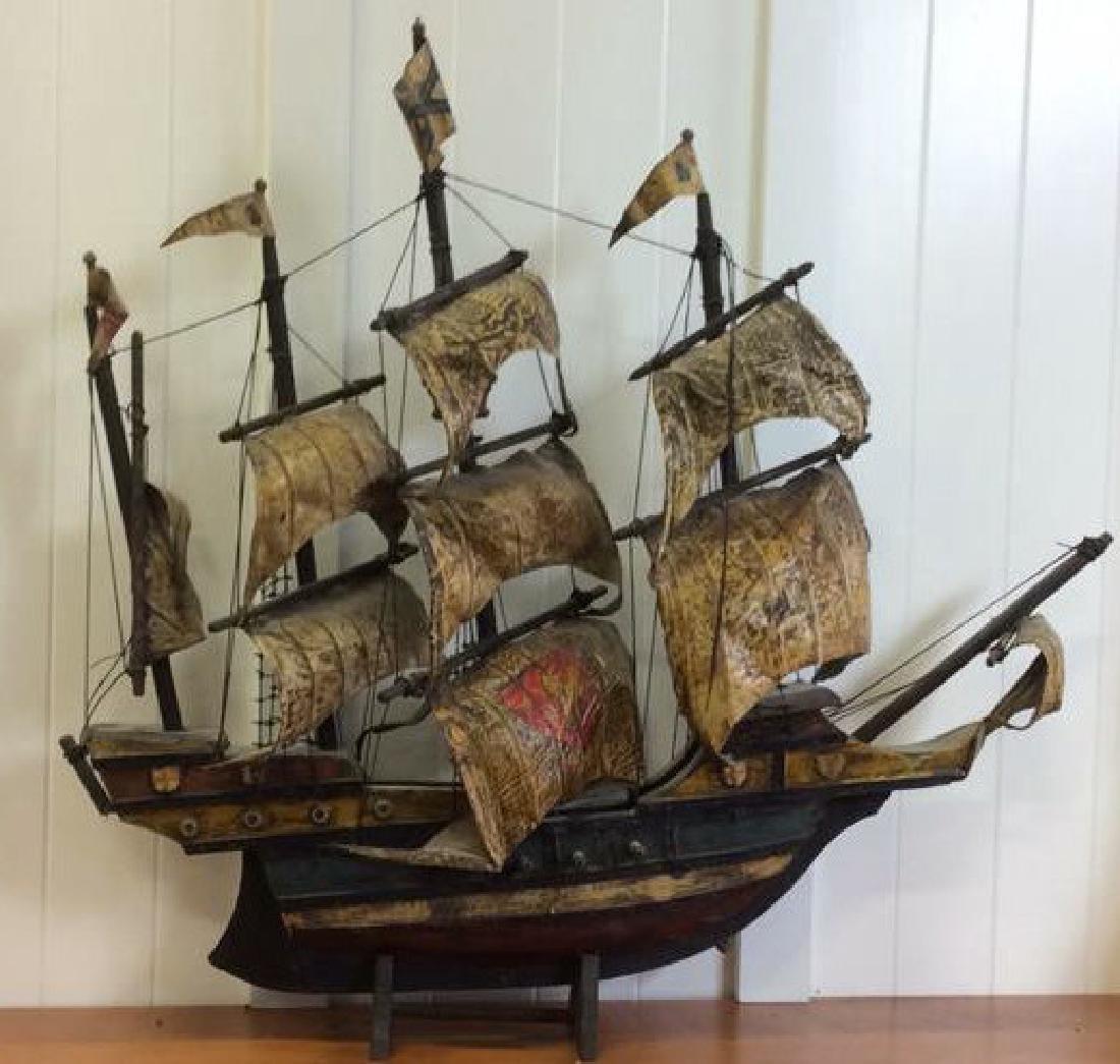 Antique Carved Painted Wood Sailing Sloop - 2