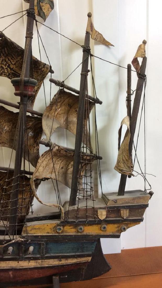 Antique Carved Painted Wood Sailing Sloop - 3