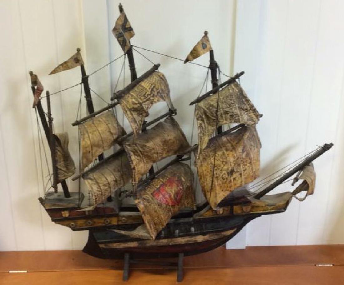 Antique Carved Painted Wood Sailing Sloop - 4