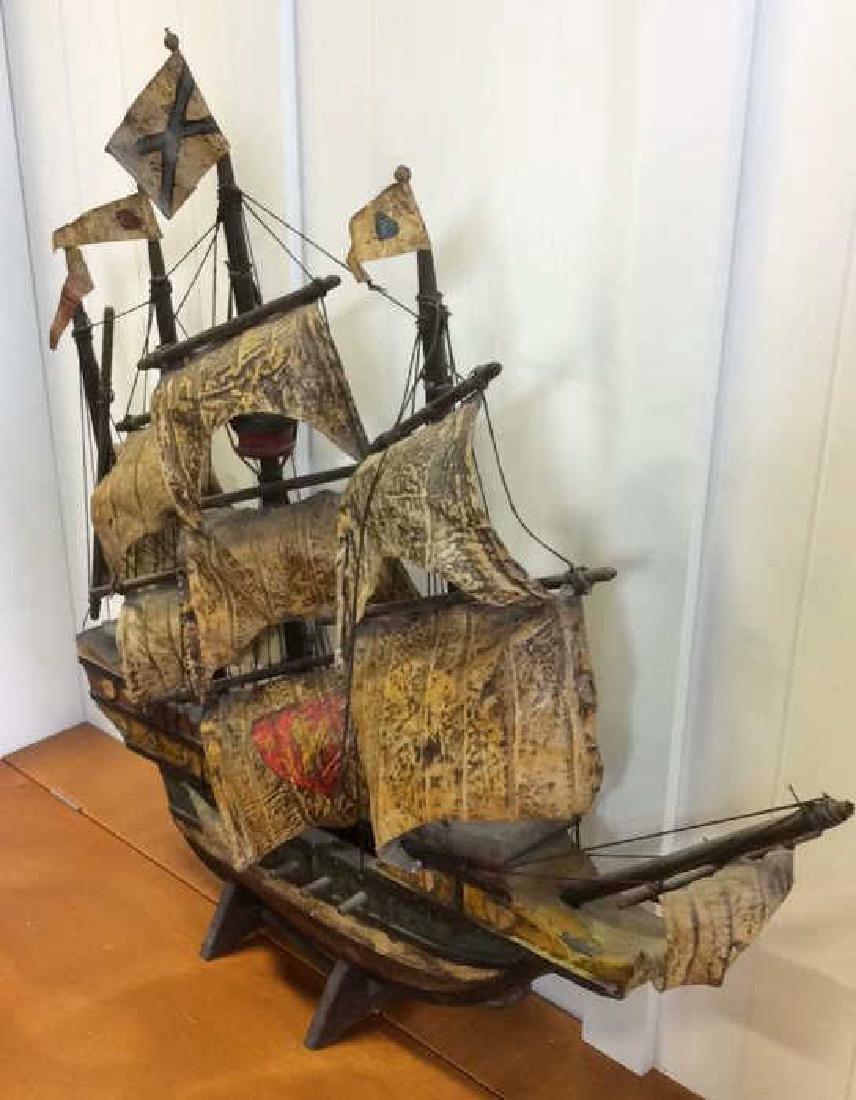 Antique Carved Painted Wood Sailing Sloop - 6