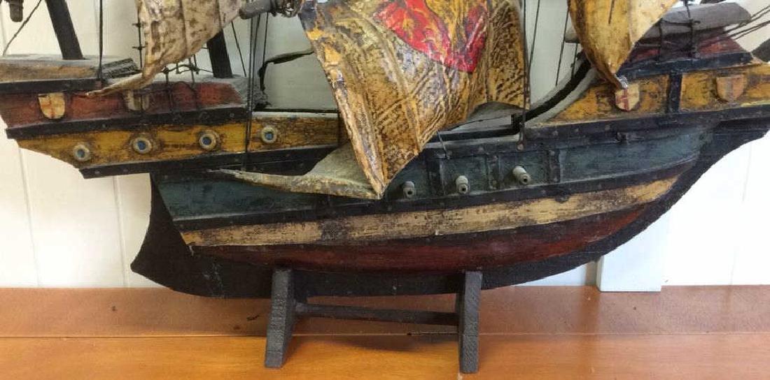 Antique Carved Painted Wood Sailing Sloop - 7