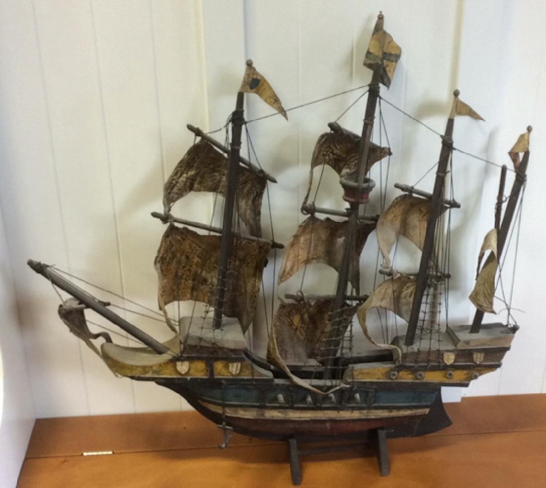 Antique Carved Painted Wood Sailing Sloop - 8