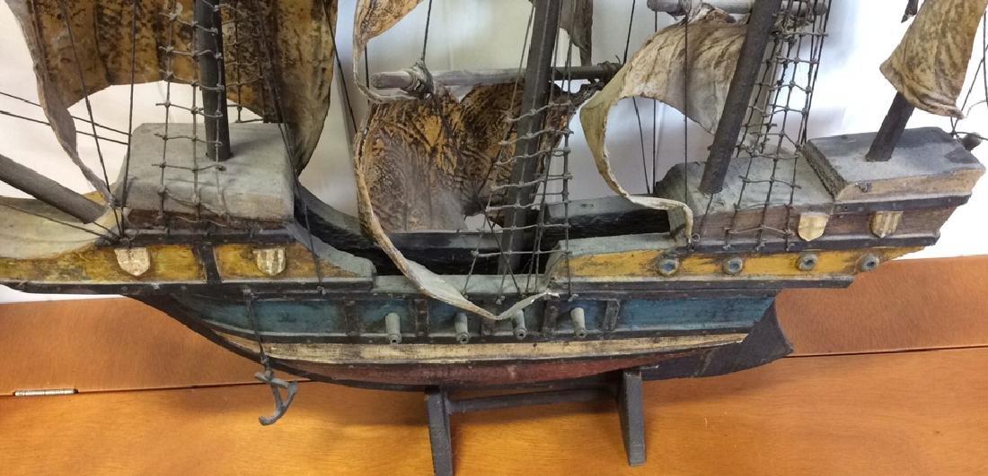 Antique Carved Painted Wood Sailing Sloop - 9