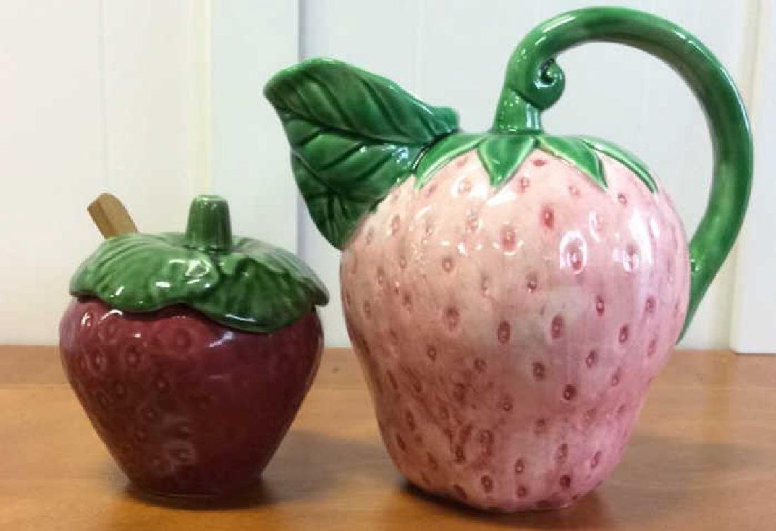 Strawberry Ceramic Pitcher and Jam Jar