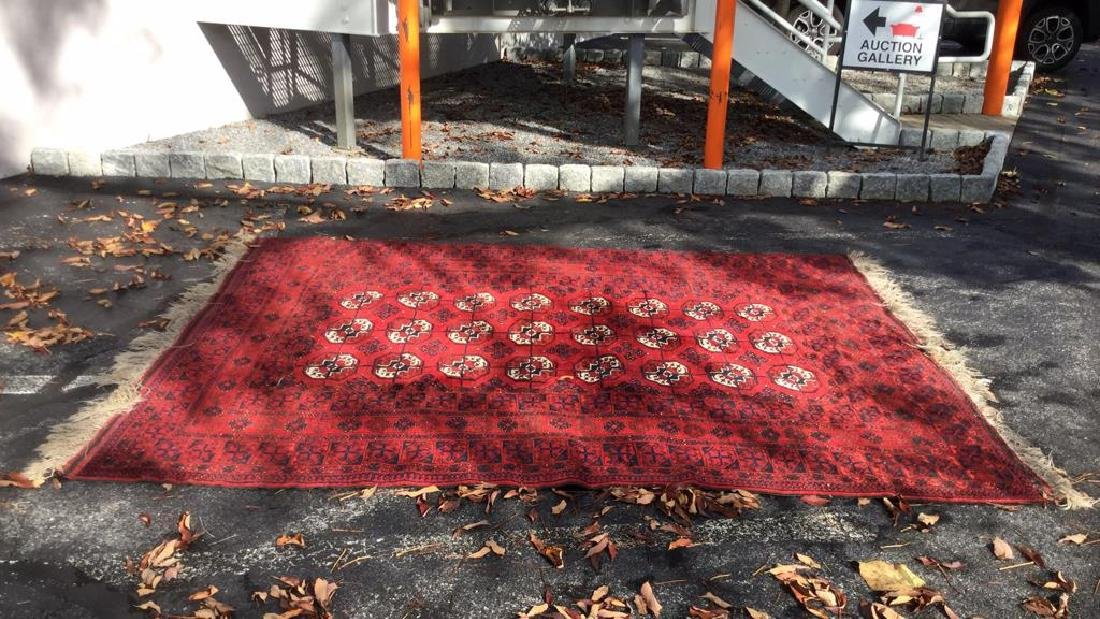 Ruby Toned Oriental Fringed Carpet - 8