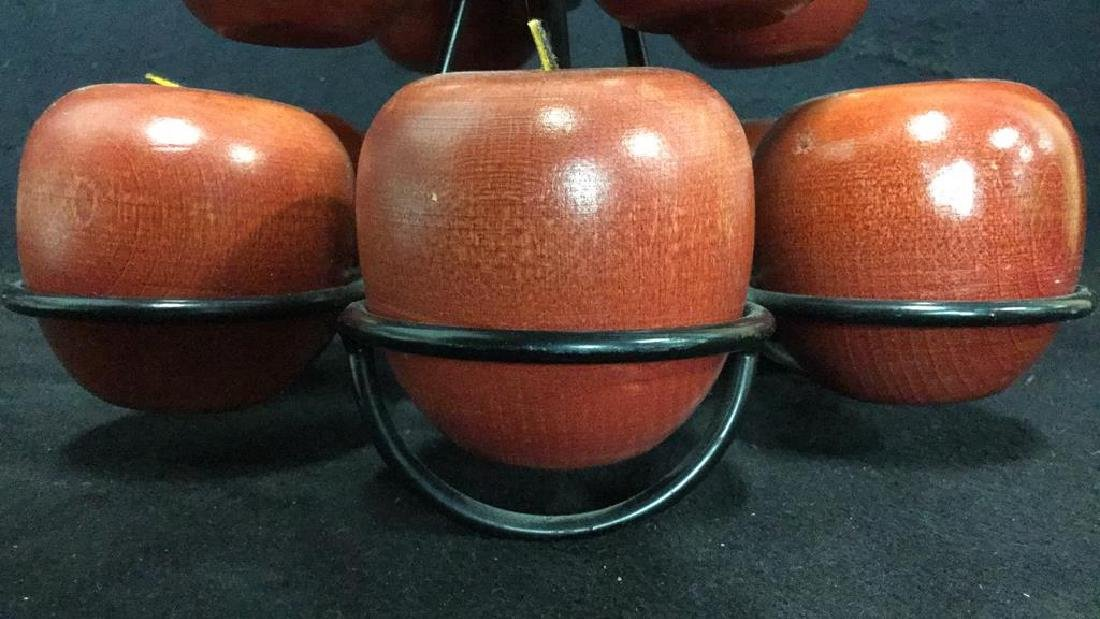 Lot 12 Wooden Apples & Stand Tabletop Accessory - 10