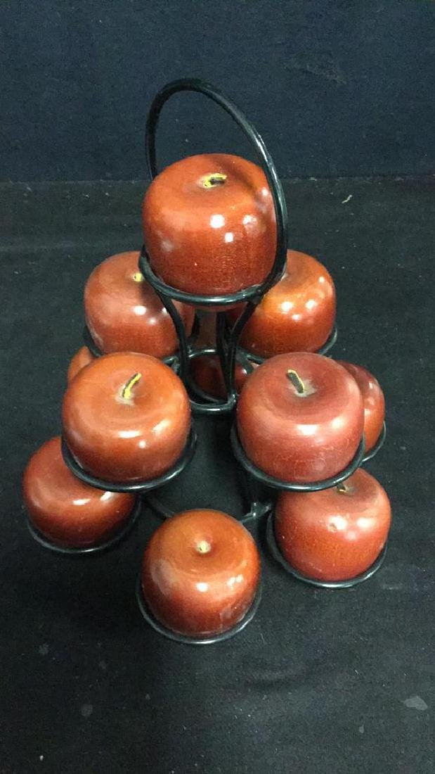 Lot 12 Wooden Apples & Stand Tabletop Accessory - 3