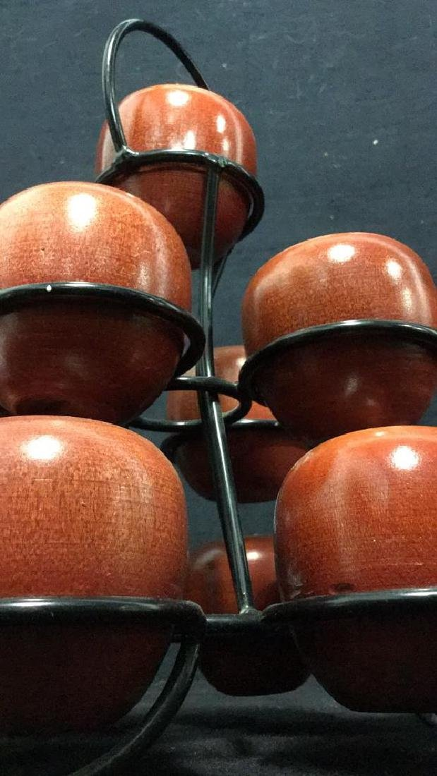 Lot 12 Wooden Apples & Stand Tabletop Accessory - 8