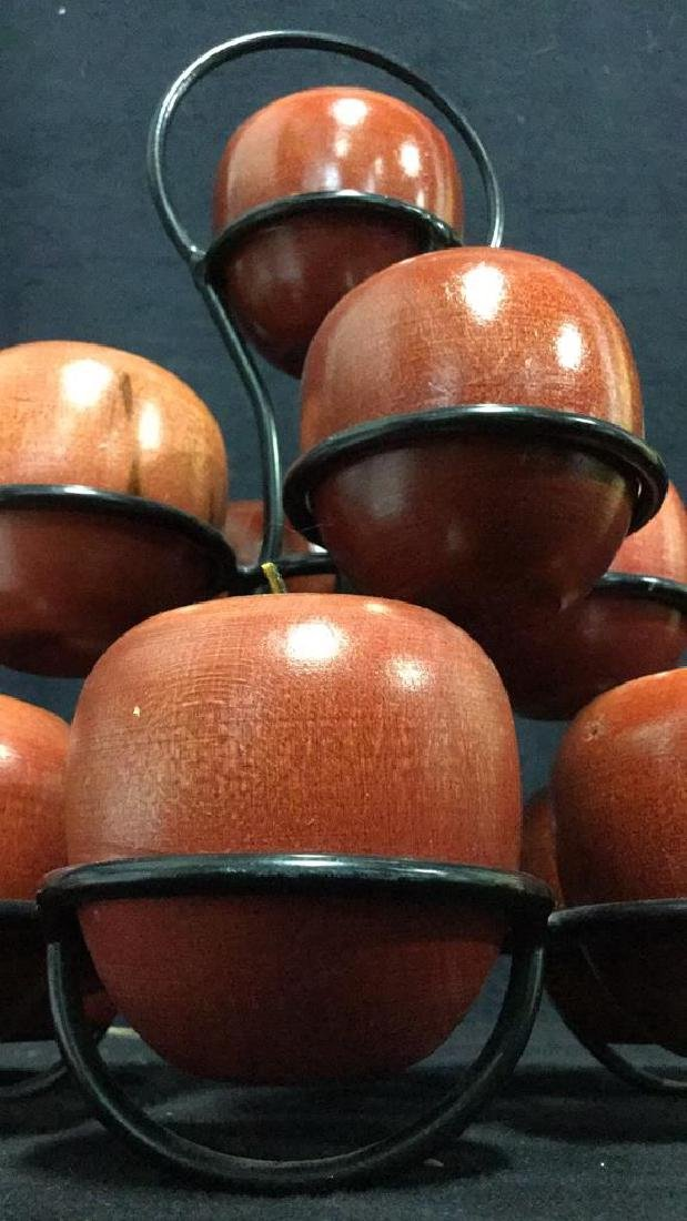 Lot 12 Wooden Apples & Stand Tabletop Accessory - 9