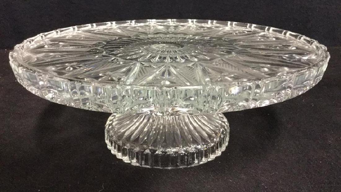 Glass Cut  Footed Cake Tray