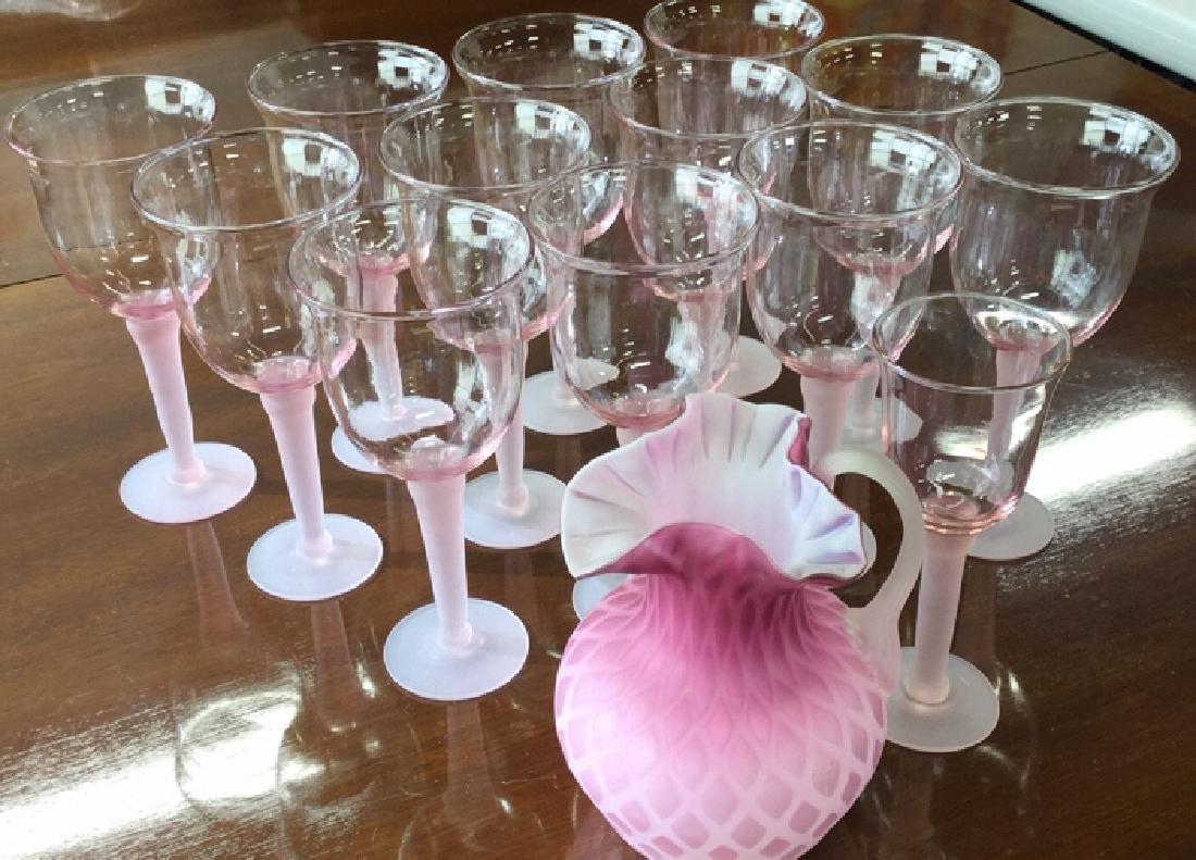 11 Pink Frosted Stem Glassesand Pink Pitcher
