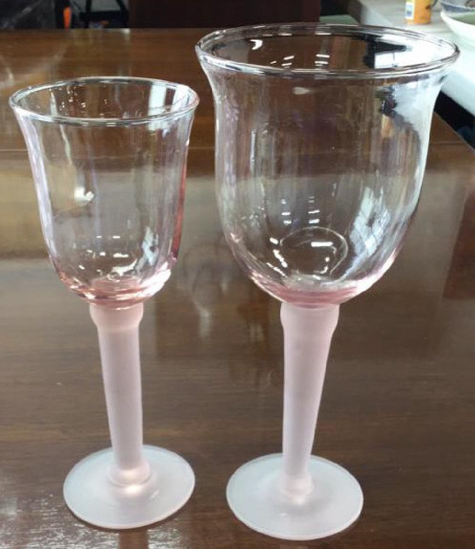 11 Pink Frosted Stem Glassesand Pink Pitcher - 4