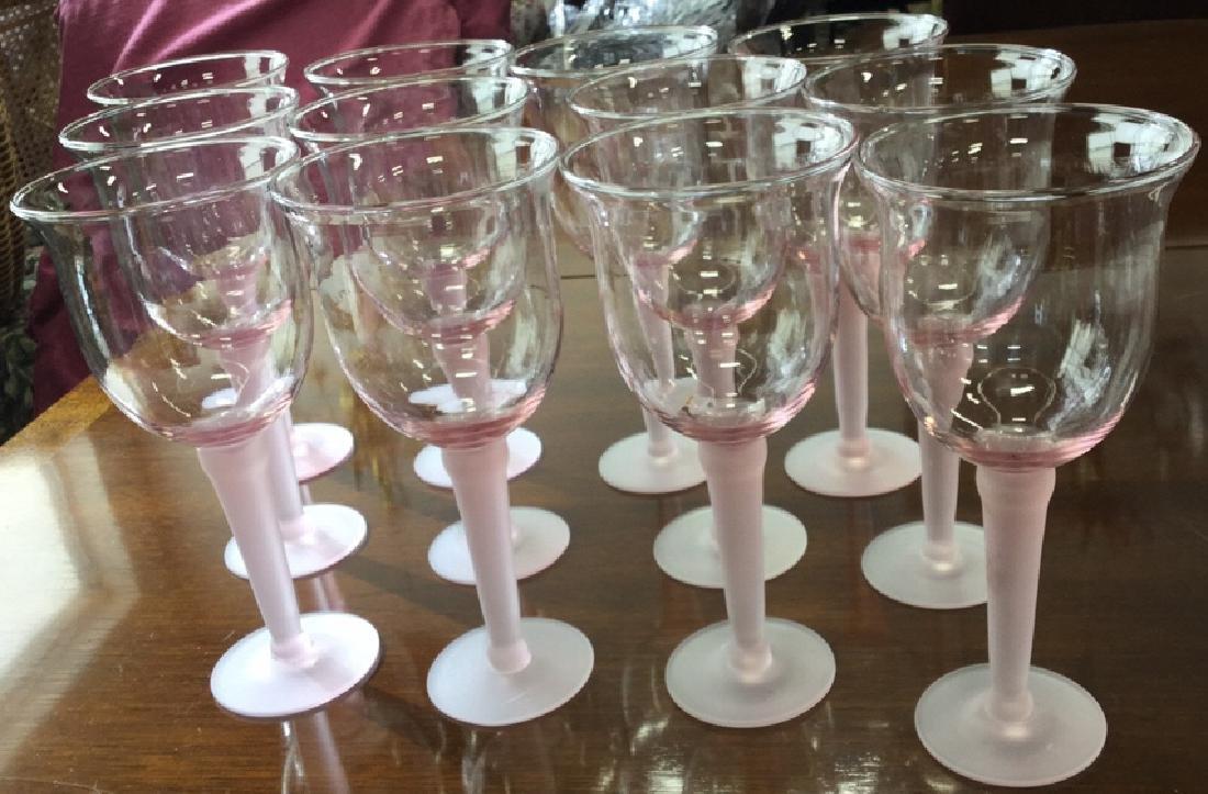 11 Pink Frosted Stem Glassesand Pink Pitcher - 5