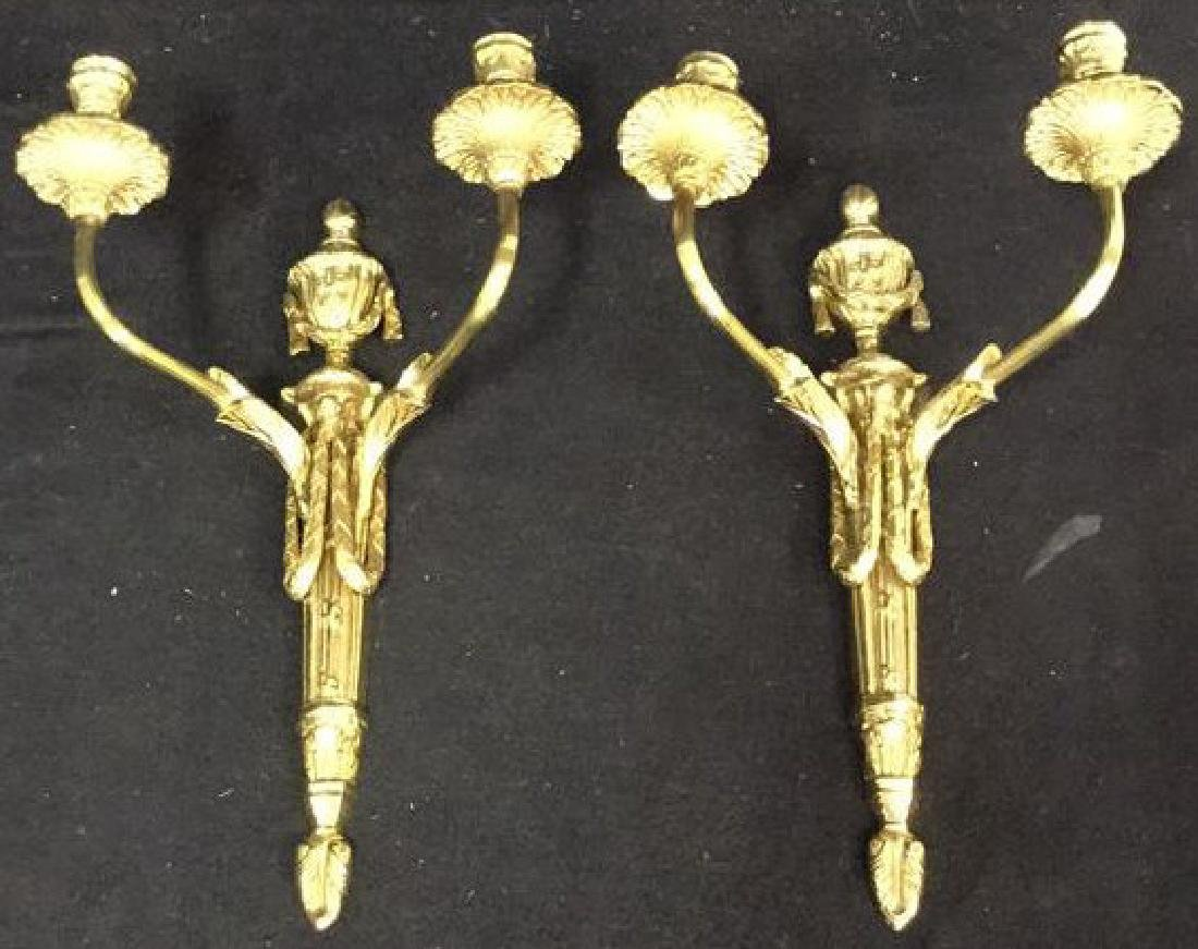 Pair Ornate Brass Wall Mount Candelabras