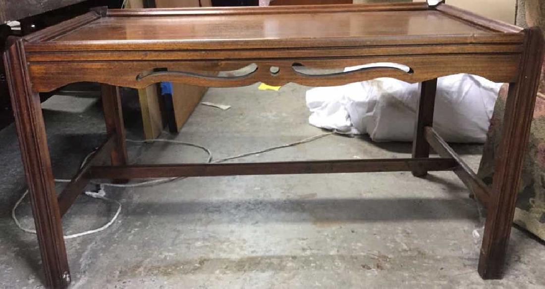 Vintage Wood Walnut Coffee Table - 2