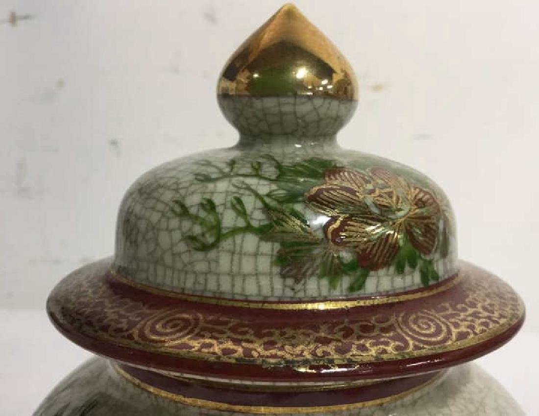 Lidded Asian Ceramic Porcelain Urn - 4