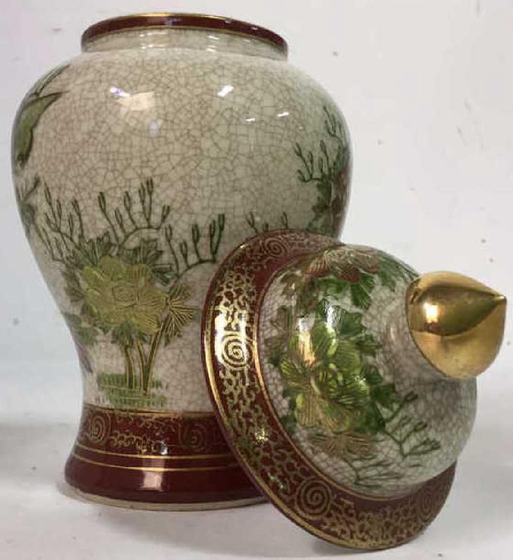 Lidded Asian Ceramic Porcelain Urn - 7