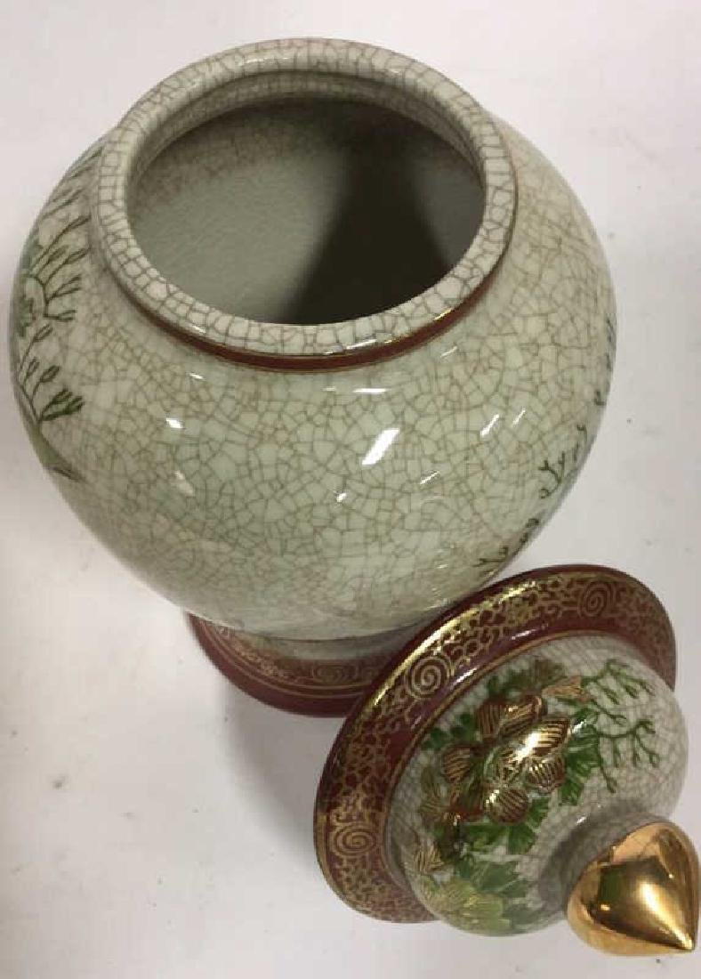 Lidded Asian Ceramic Porcelain Urn - 8