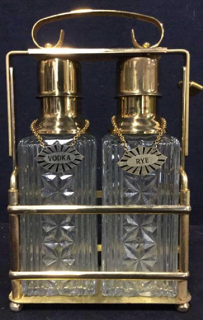Lot 3 Liquor Decanters & Brass Holder W Lock - 2