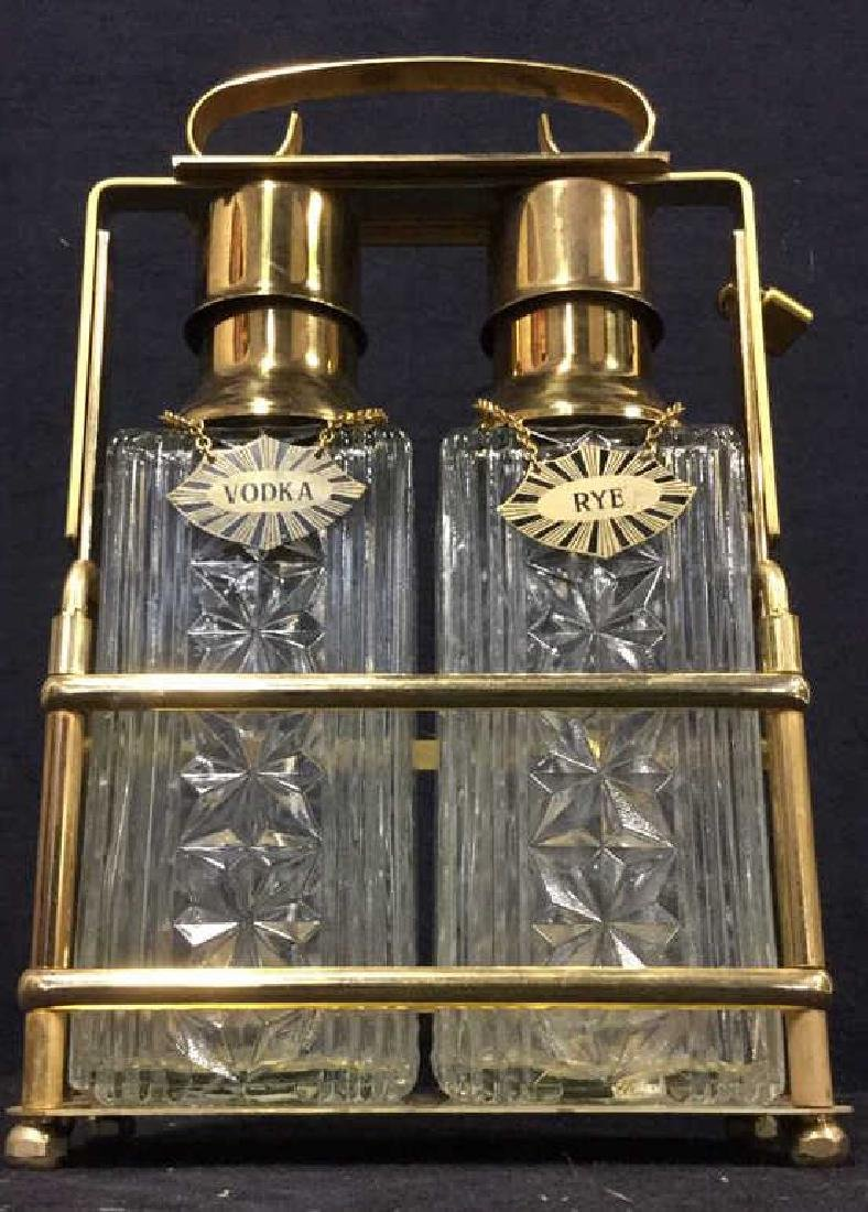 Lot 3 Liquor Decanters & Brass Holder W Lock - 7
