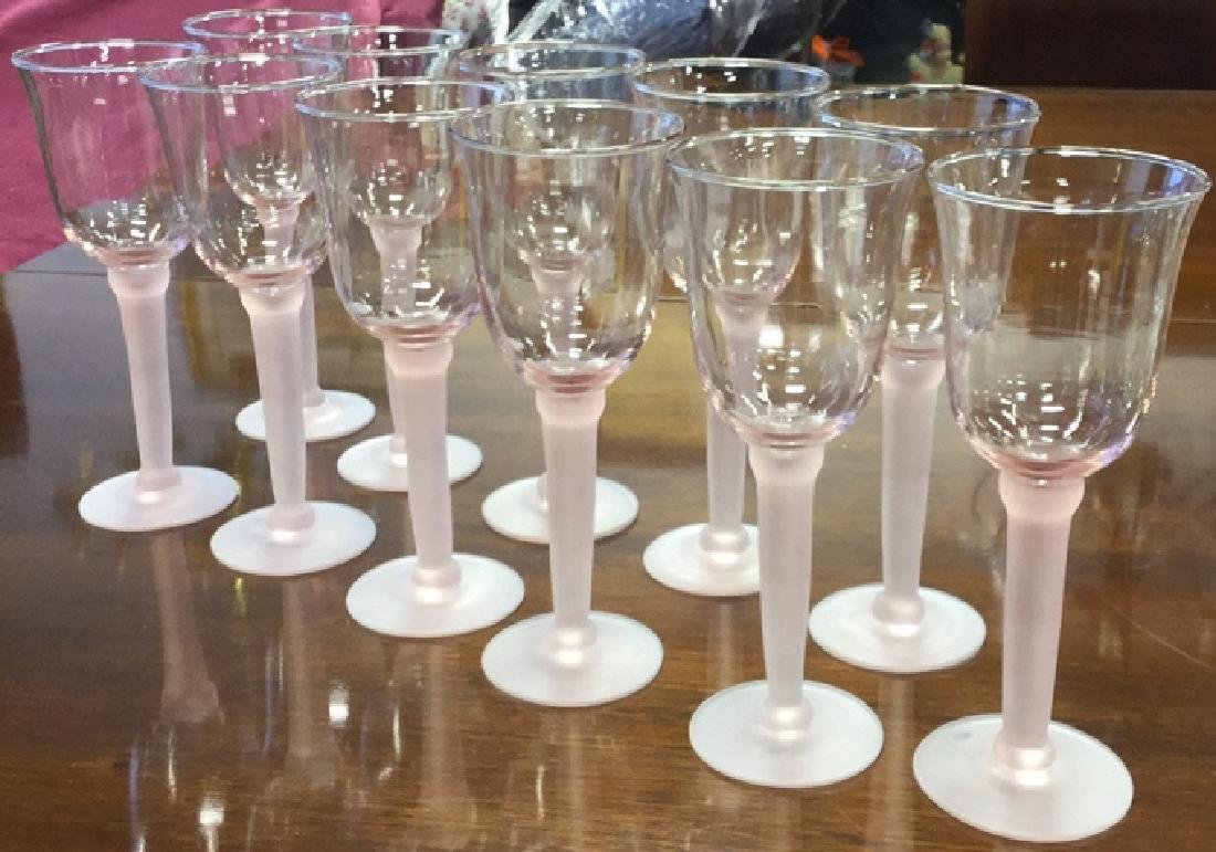 11 Pink Frosted Stem Wine Glasses