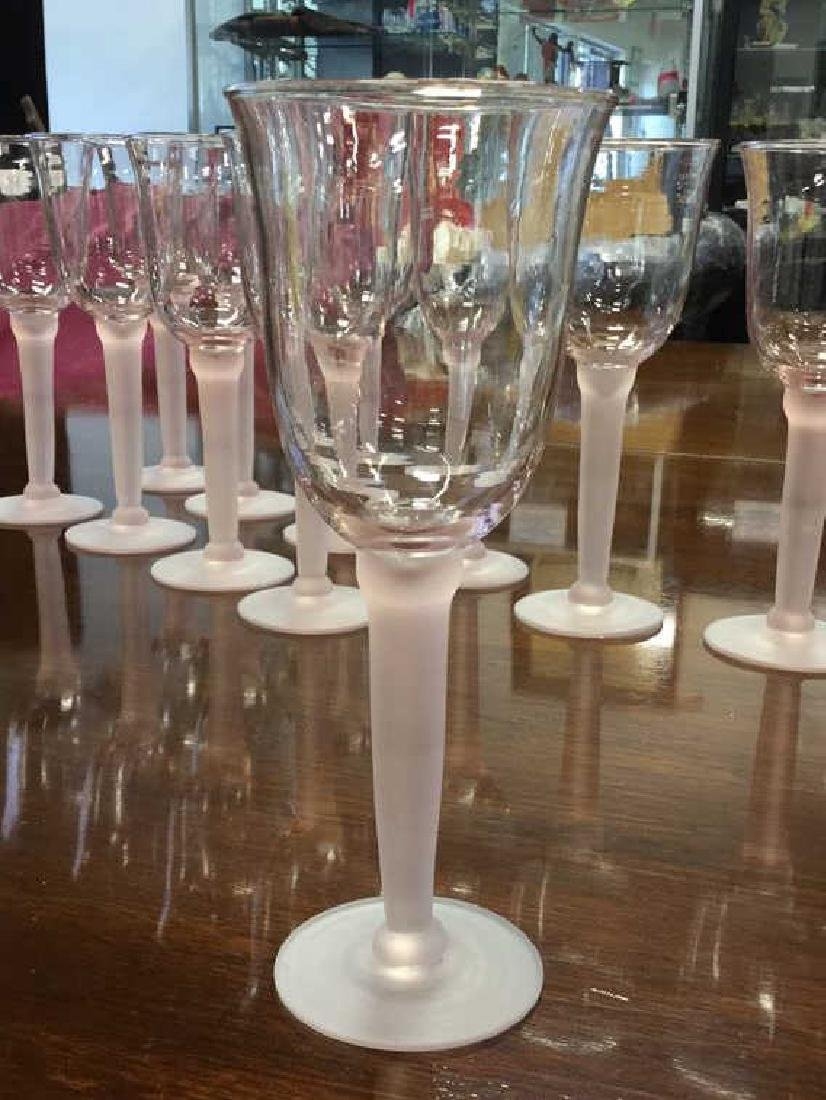 11 Pink Frosted Stem Wine Glasses - 5