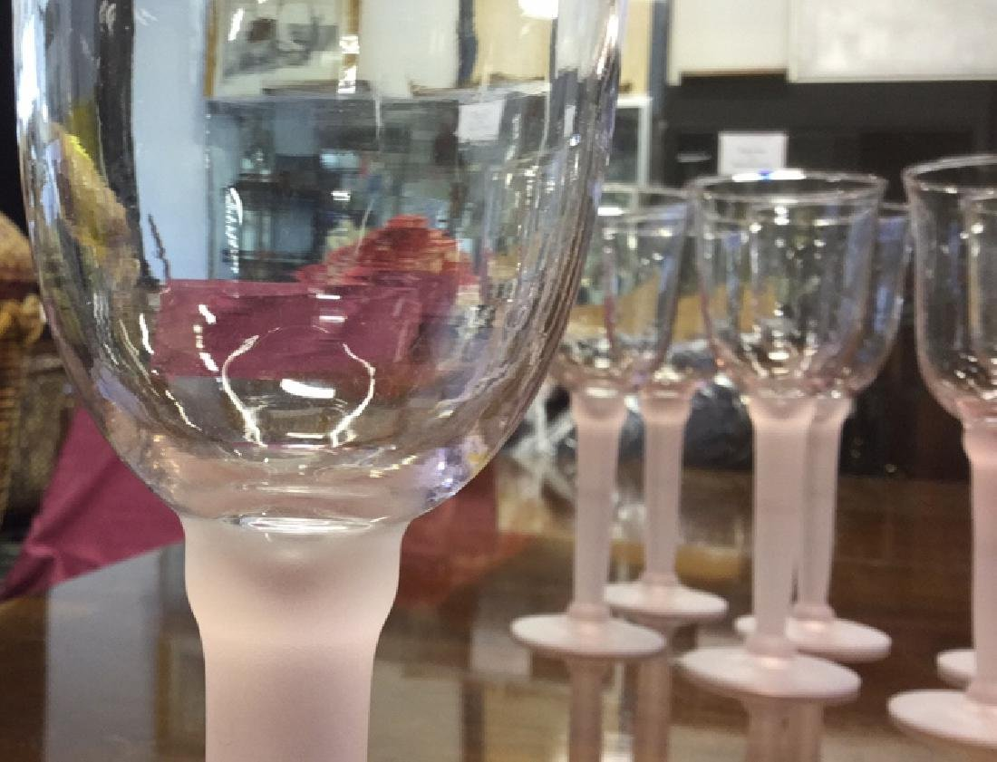 11 Pink Frosted Stem Wine Glasses - 6