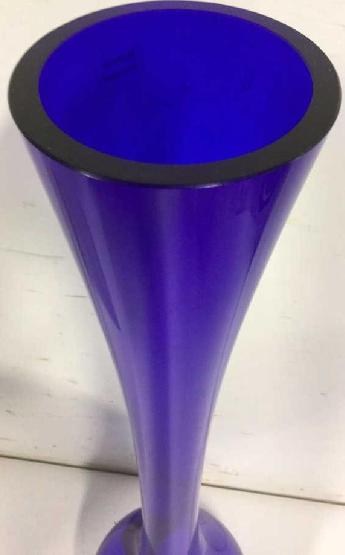 Vintage Blue Long Necked Vase - 4