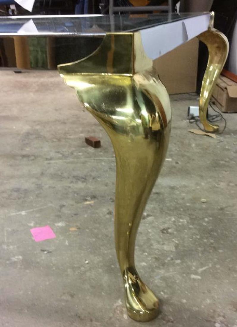 Vintage Chrome Brass Glass Coffee Table - 5