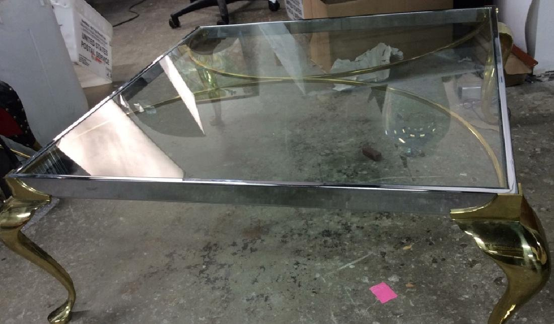 Vintage Chrome Brass Glass Coffee Table - 7