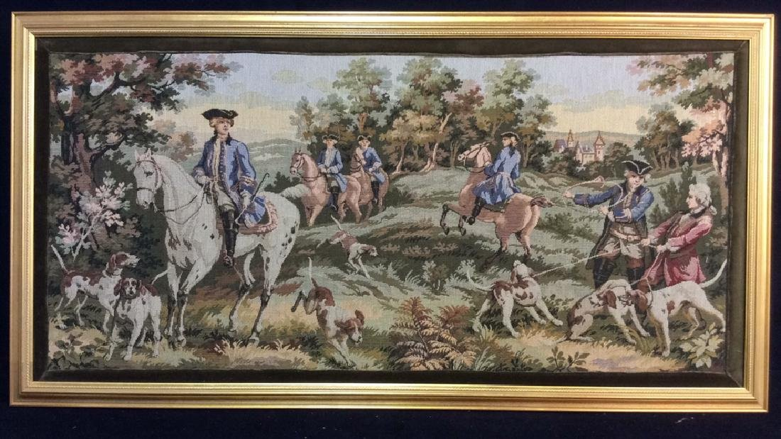 Embroidered Tapestry 18th Century Hunt