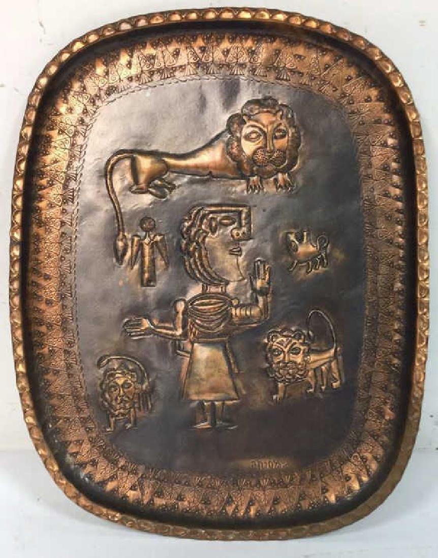 Israeli Hand Decorated Figural Copper Tray