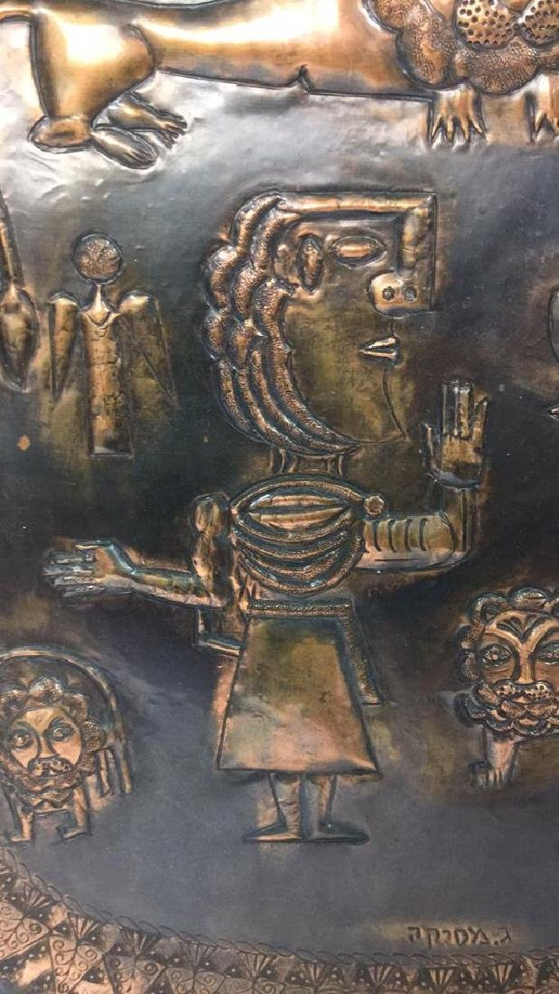 Israeli Hand Decorated Figural Copper Tray - 9