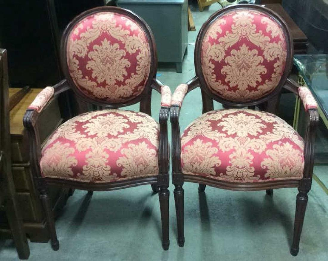 Pair Vintage Red Silk Upholstered Carved Armchairs