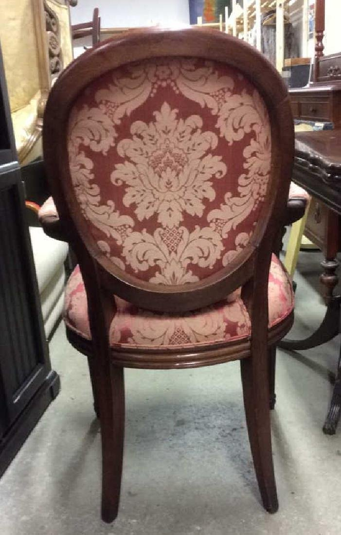 Pair Vintage Red Silk Upholstered Carved Armchairs - 6