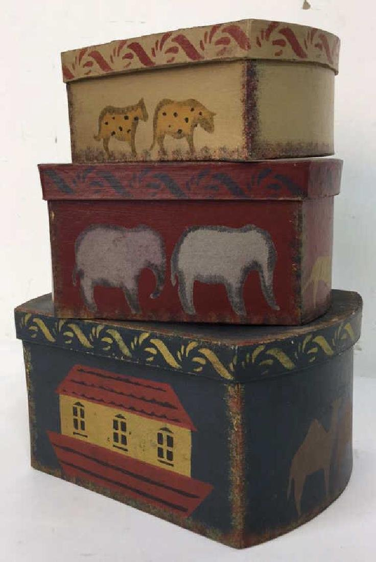 Set  Three Painted Boxes Depicting Noah's Arch