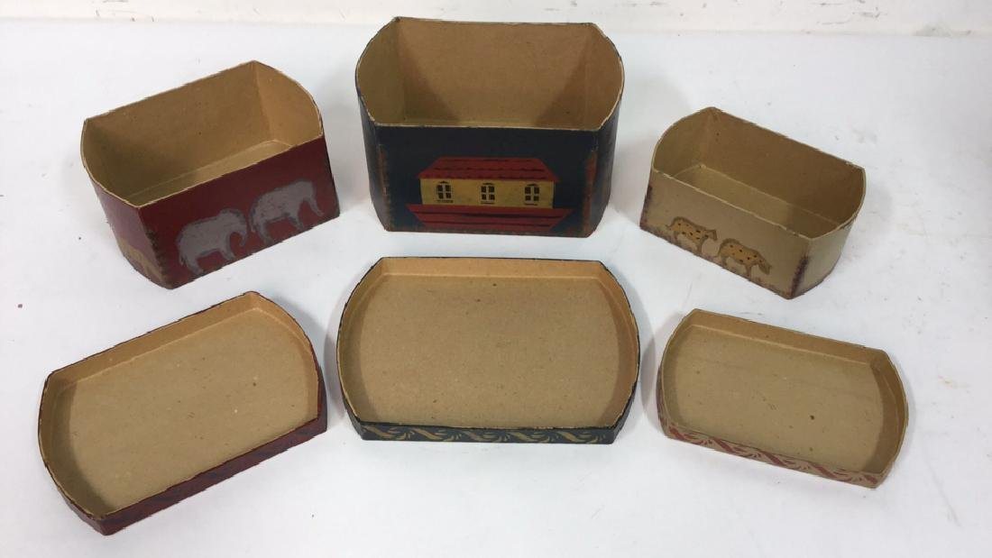 Set  Three Painted Boxes Depicting Noah's Arch - 5