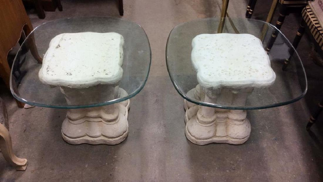 Pair Glass and Stone Style Base End Tables