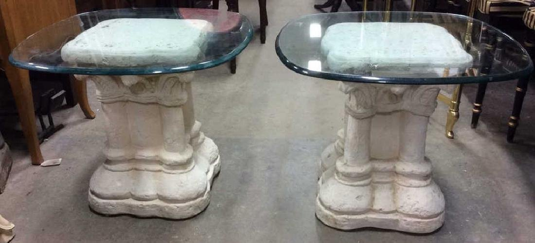 Pair Glass and Stone Style Base End Tables - 2