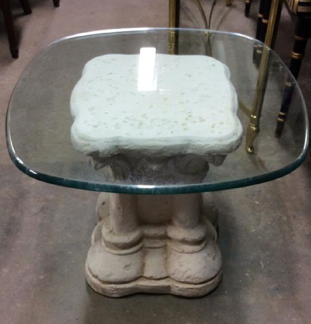 Pair Glass and Stone Style Base End Tables - 3