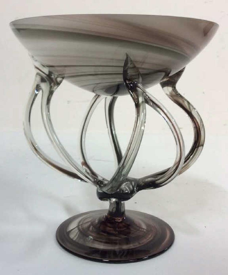 Black & White Toned Art Glass Vase Bowl - 10
