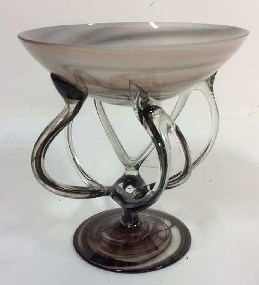 Black & White Toned Art Glass Vase Bowl