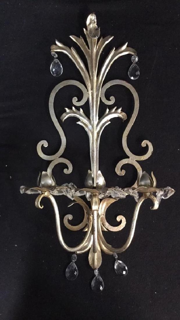 Silver Leafed Metal Wall Sconce W Teardrop Prisms - 10