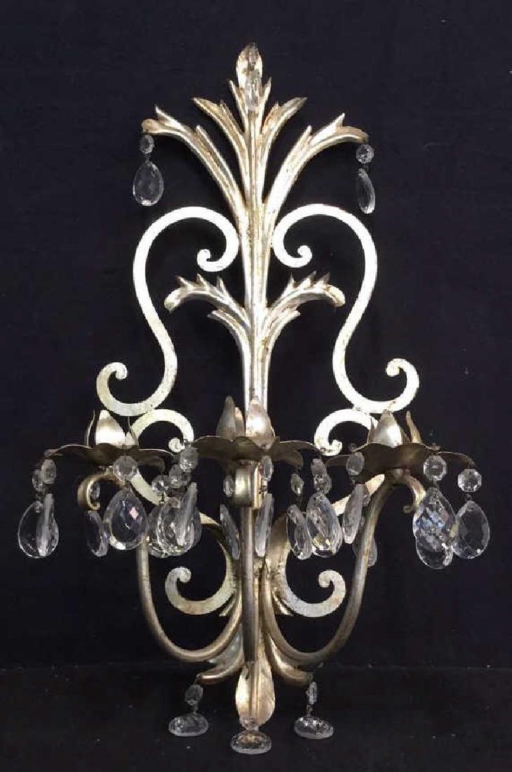 Silver Leafed Metal Wall Sconce W Teardrop Prisms - 5