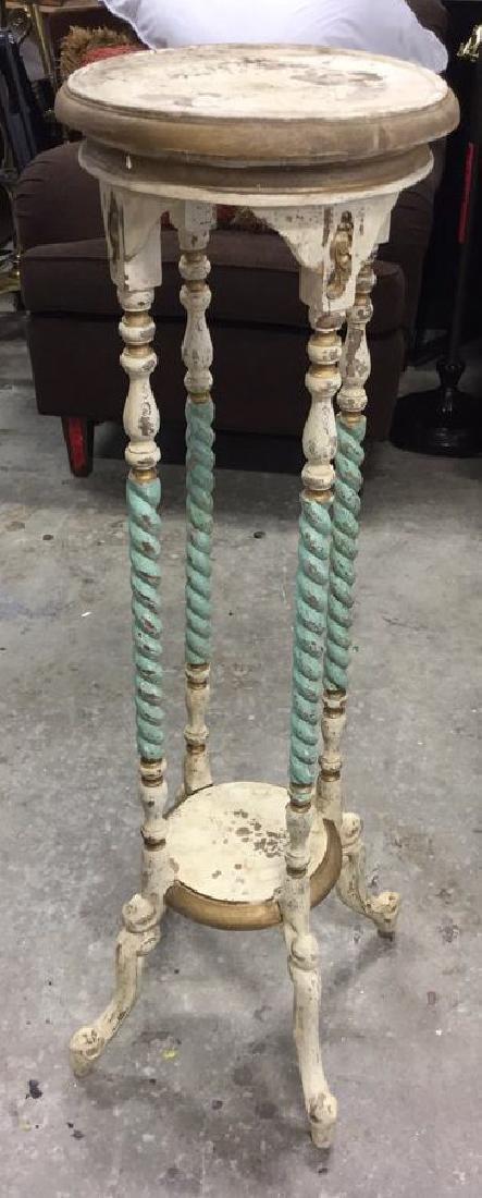 Vintage Carved and Painted Wood Pedestal