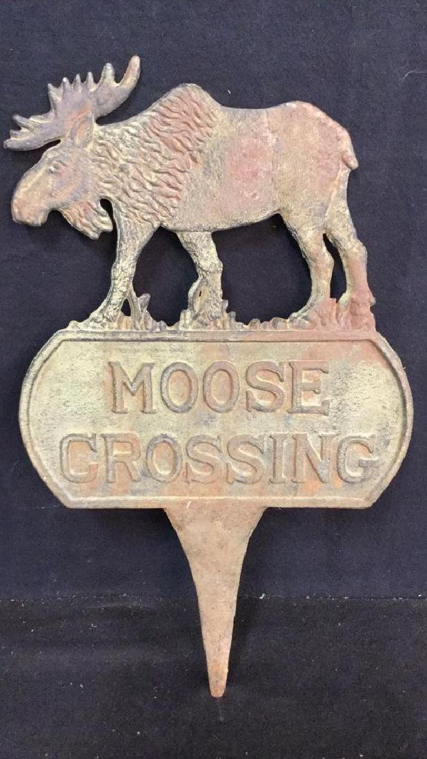 Cast Iron/Metal Double Sided Moose Crossing Sign