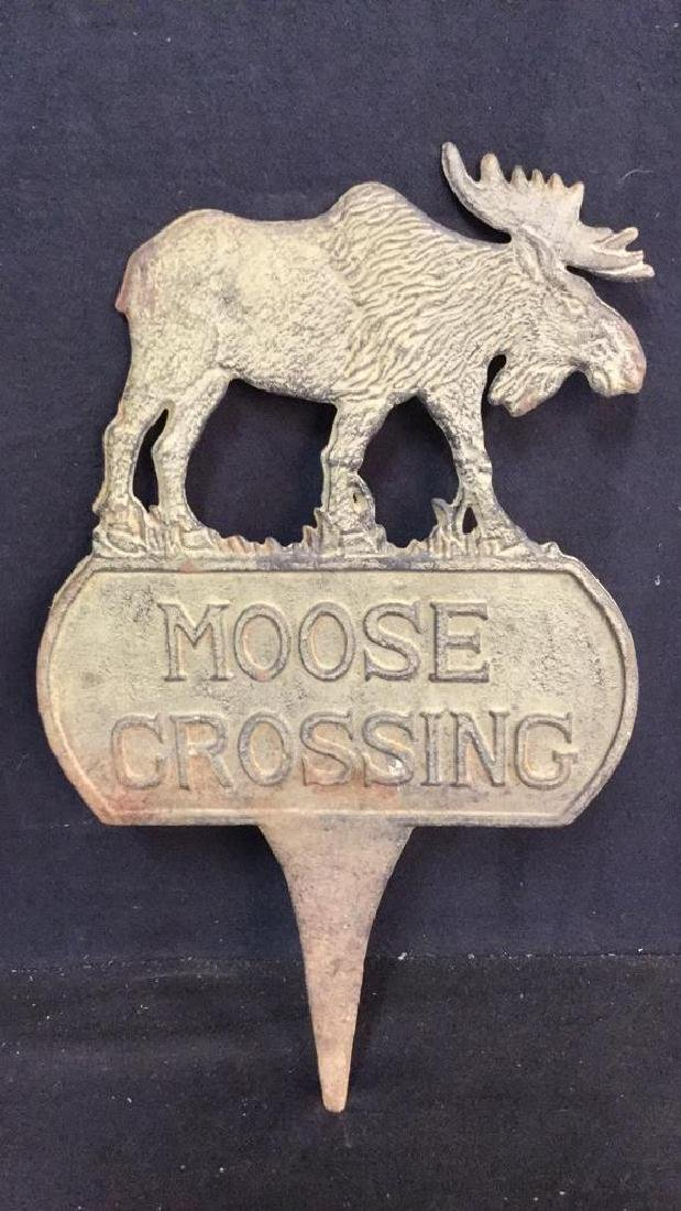 Cast Iron/Metal Double Sided Moose Crossing Sign - 2