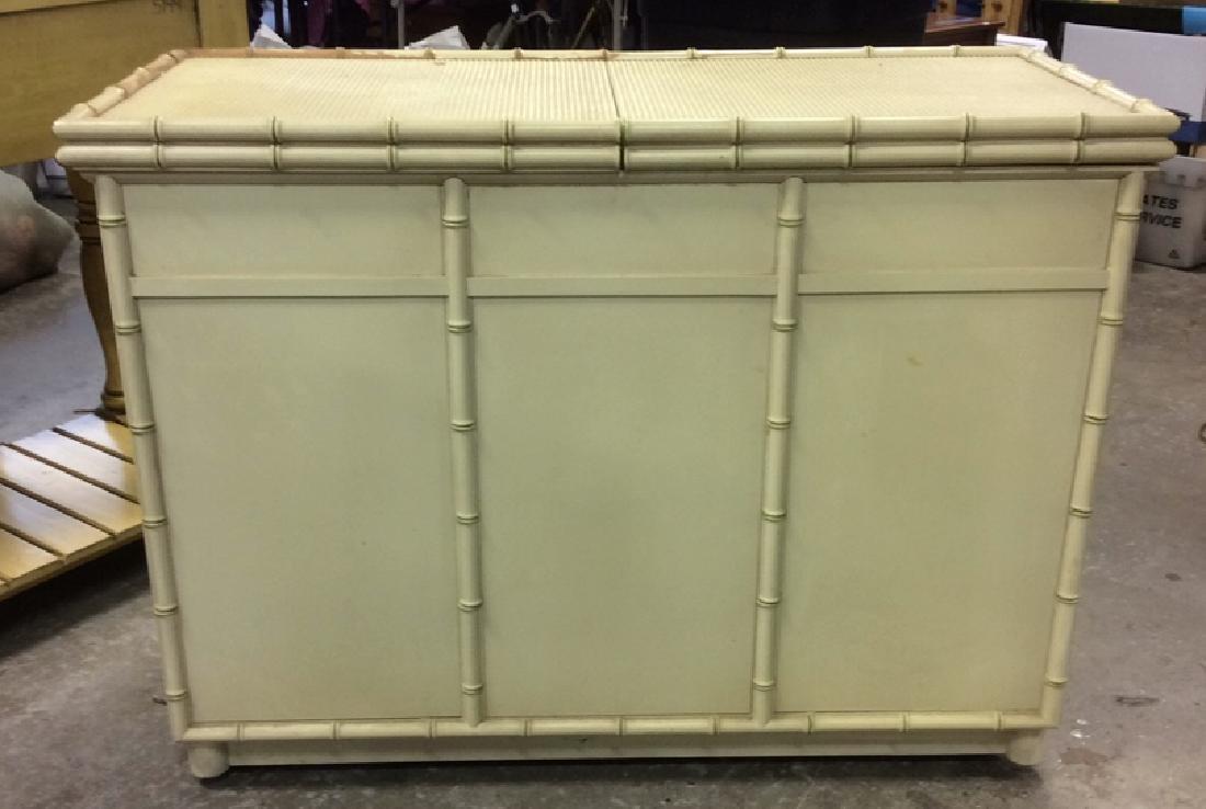 Bamboo Styled Cream Toned Bar Cabinet - 10