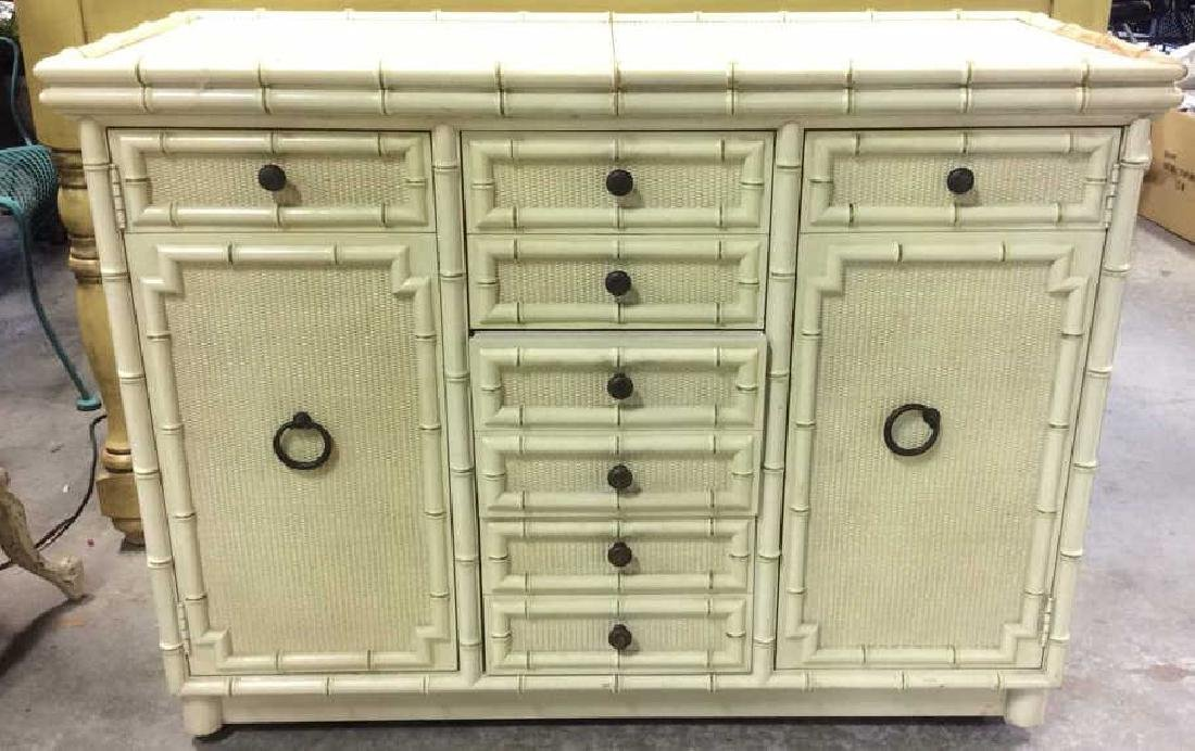 Bamboo Styled Cream Toned Bar Cabinet