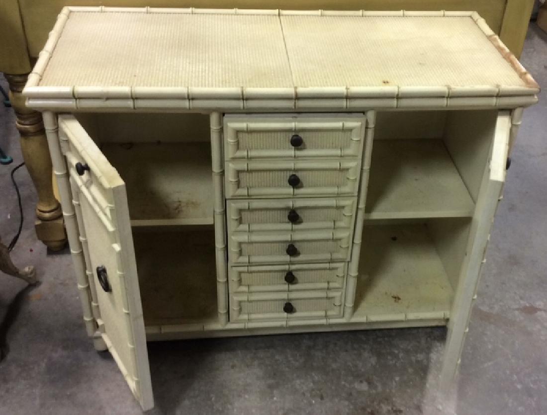 Bamboo Styled Cream Toned Bar Cabinet - 4